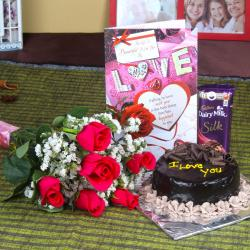 Bouquet of 6 Pink Roses Chocolate Cake and Love Card with Dairy Milk Silk for Hyderabad