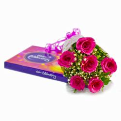 Bouquet of 6 Pink Roses with Cadbury Celebration Chocolate Box for Noida
