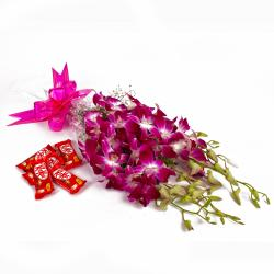 Bouquet of 6 Purple Orchids and Kitkat Chocolate Bars for Noida