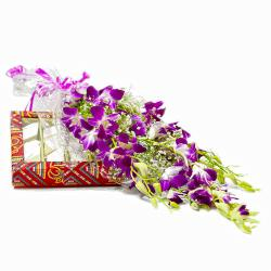 Bouquet of 6 Purple Orchids with Box of 500 Gms Kaju Barfi for Gurgaon