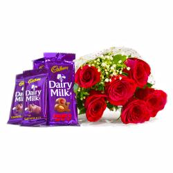 Bouquet of 6 Red Roses of with Assorted Bars of Cadbury Dairy Milk Chocolates for Gurgaon