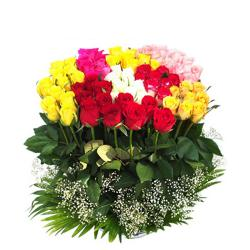 Bouquet of 75 Mix color Roses for Agra