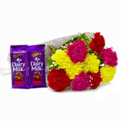 Bouquet of Assorted Carnations with Cadbury Fruit and Nut Chocolate Bars for Baroda