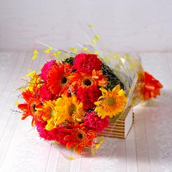 Bouquet of Bright Colour Carnations and Gerberas for Kapurthala