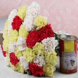 Bouquet of Carnations and Rasgulla Sweets for Moradabad