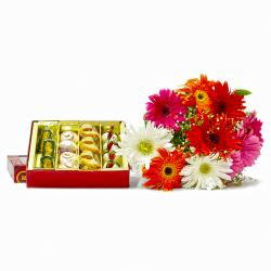 Bouquet of Colorful Gerberas with Box of Assorted Sweets for Delhi