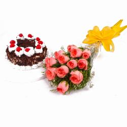 Bouquet of Dozen Pink Roses with Eggless Black Forest Cake for Delhi