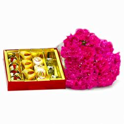 Bouquet of  Fifteen Pink Carnations with Box of Assorted Sweets for Raichur