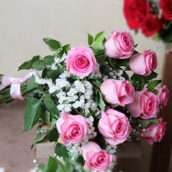 Bouquet of Fresh Pink Roses for Gurgaon