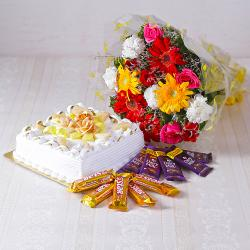 Bouquet of Mix flowers with Square Shape Pineapple Cake and Assorted Chocolates for Siliguri