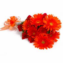Bouquet of Orange Gerberas and Red Roses for Lucknow