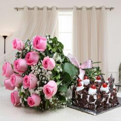 Bouquet of Pink Roses with Black Forest Cake for Ahmedabad