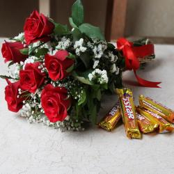 Bouquet of Red Roses with Chocolate for Kapurthala