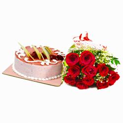 Bouquet of Red Roses with Strawberry Cake for Chandigarh