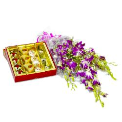 Bouquet of Six Purple Orchids with Box of Assorted Sweets for Pune