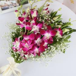 Bouquet of Six Purple Orchids for Chandigarh