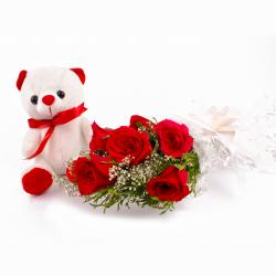 Bouquet of Six Red Roses and Teddy Soft Toy for Kanchipuram