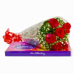 Bouquet of Six Red Roses with Celebration Chocolate Box for Gurgaon