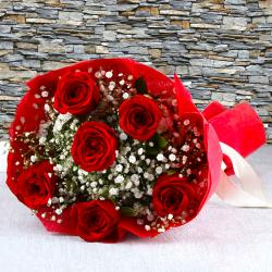Bouquet of Six Red Roses with Tissue Wrapping for Kapurthala