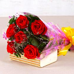 Bouquet of Six Red Roses for Noida