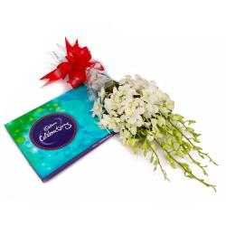 Bouquet of Six White Orchids and Cadbury Celebration Chocolate Pack for Jaipur