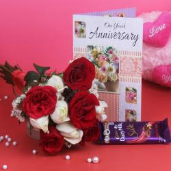 Bouquet of Ten and Greeting Card with Chocolates for Jaipur
