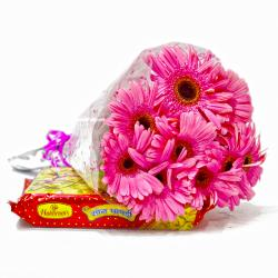 Bouquet of  Ten Pink Gerberas with 500 Gms Soan Papdi Sweet for Kanchipuram