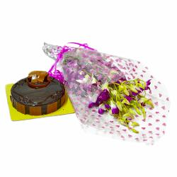 Bouquet of Ten Purple Orchids and Chocolate Cake for Mathura