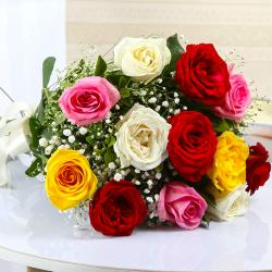 Bouquet of Twelve Colorful Roses for North Goa