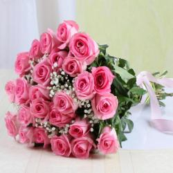 Bouquet of Twenty Five Pink Roses for Hyderabad