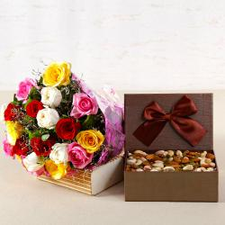 Bouquet of Twenty Mix Color Roses with Assorted Dry Fruits Box for Imphal