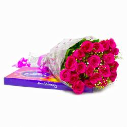 Bouquet of Twenty Pink Roses with Cadbury Celebration Chocolate Pack for Madras