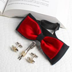 Bow Tie With Cufflink And Pin Combo