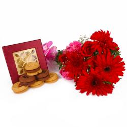 Box of Mix Cookies with Lovely Assorted Flowers for Moga