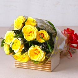 Bright Yellow Roses Bunch for Hospet