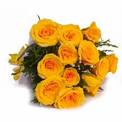 Brighten Yellow Dozen Roses Bouquet for Ahmedabad