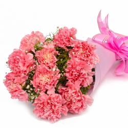 Bunch of 10 Pink Carnations in Tissue Wrapped for Manipal