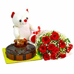 Bunch of 10 Red Roses with Cute Teddy and Half Kg Chocolate Cake for Hospet