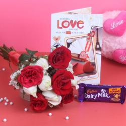 Bunch of 10 Roses with Cadbury Dairy Milk Chocolate and Love Card for Bhopal