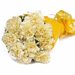 Bunch of 10 Yellow Carnations in Tissue Packed for Bhopal