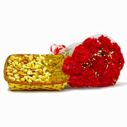Bunch of 12 Red Carnations and Mix Dry Fruit Basket for Manipal