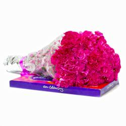 Bunch of 20 Pink Carnations with Cadbury Celebration Chocolate Box for Delhi