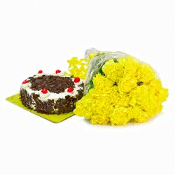 Bunch of 20 Yellow Carnations with Half Kg Black Forest Cake for Lucknow