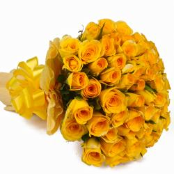Bunch of 50 Yellow Roses Tissue Packing for Dombivli