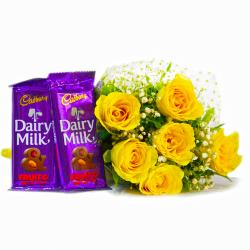 Bunch of 6 Yellow Roses with Mouthmelting Cadbury Fruit and Nut Chocolate Bars for Gurgaon