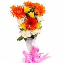 Bunch of Assortment of Seasonal Flowers  in Paper Wrapping for Bhopal