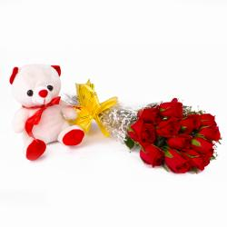 Bunch of Dozen Red Roses with Cuddly Bear for Noida