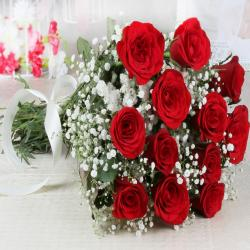 Bunch of Fresh 12 Red Roses for Ghaziabad