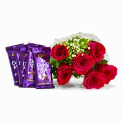 Bunch of Six Red Roses with Bars of Cadbury Dairy Milk Chocolates for Chennai