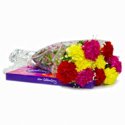 Bunch of Ten Mix carnations with Cadbury Celebration Chocolate Box for Jaipur